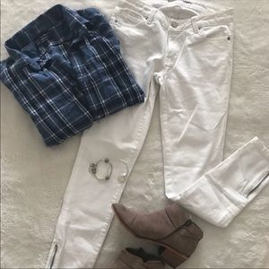 White Denim Ankle Zip Skinny Jeans